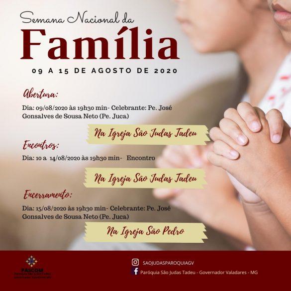 PROGRAMAÇÃO DA SEMANA DA FAMÍLIA E DAS VOCAÇÕES NAS PARÓQUIAS